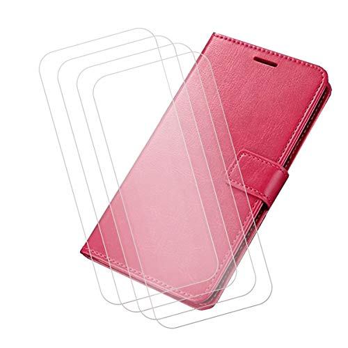 "Wallet Case for OnePlus Nord (6.44"") + [4 Pack] Tempered Film Glass Screen Protector,YZKJ Flip PU Leather Case with Credit Card Slots and Stand Protective Cover - Rose Red"