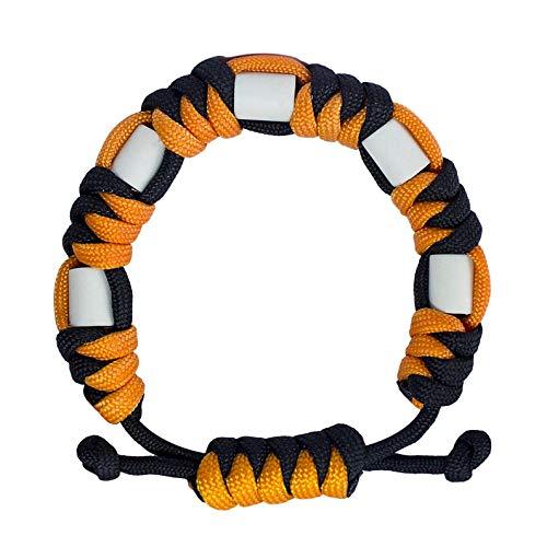 Anti Zecken Paracord Armband, Natürliches Zecken Abwehr Armband mit EM Keramik Langlebig, Sichere Zeckenbekämpfung für Kinder und Erwachsene, Unisex Verstellbares Armband (Citrus)
