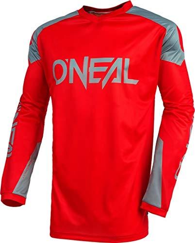 O\'NEAL | Jersey | Enduro Motocross | Atmungsaktives Material, Maximale Bewegungsfreiheit, Verlängerter Rücken | Jersey Matrix Ridewear | Erwachsene | Rot Grau | Größe M