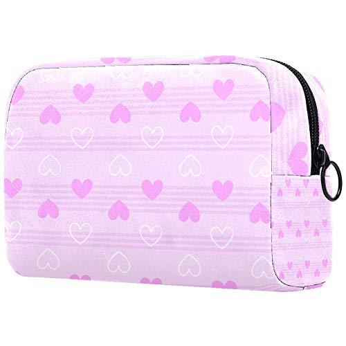 Trousse de toilette portable personnalisable pour femme - Motif cœur et rayures - Rose