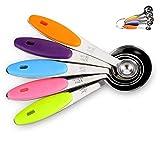 N/U Juego de 5 cucharas medidoras de acero inoxidable con mango de silicona, herramientas de medición para medir ingredientes líquidos y secos, se puede utilizar al hacer el proceso de postres