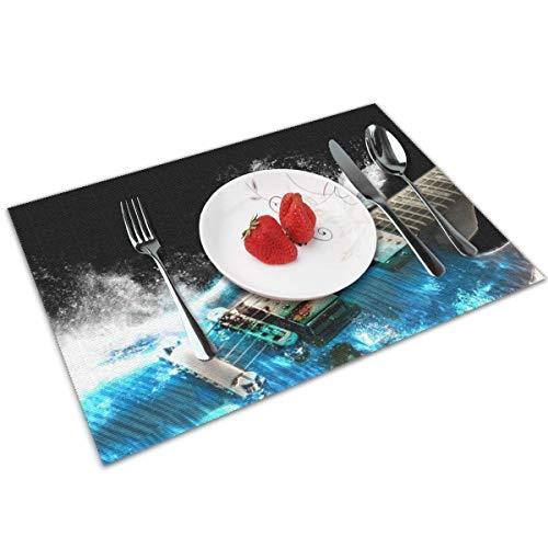 N/A PVC-Platzdeckchen, gewebtes Design, 4er-Set, verschiedene Farben, 45,7 x 30,5 cm, Gitarren, Airbrush-Gemälde, Cg Digital Art Waves Splash