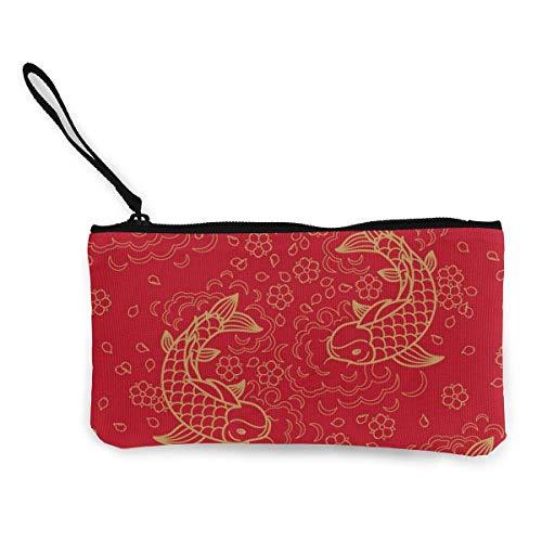 Yuanmeiju Immagine di vettore del modello senza cuciture del pesce cinese Cinghia da polso della borsa della borsa del supporto della chiusura lampo del sacchetto della moneta del cambio della