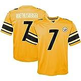 Maillot de Football américain 7# Ben Roethlisberger, Maillot de Rugby T-Shirt brodé Sport à séchage Rapide à Manches Courtes Hommes Adultes étudiant-Yellow-M(175~180)