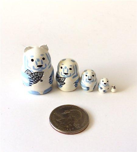 1.25' Tall Polar Bear Mini Nesting Dolls Russian Hand Carved Hand Painted 5 Piece Matryoshka Set