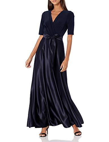 Alex Evenings Women's Satin Ballgown Dress with Sleeve (Petite and...