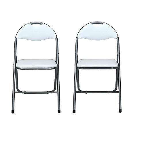 Sedia Pieghevole salvaspazio Imbottita Struttura in Metallo Seduta Ecopelle (Set da 2 Sedie, Bianco)