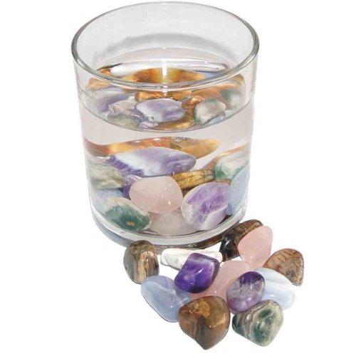 5 Elemente Wassersteine 100 Gramm Edelsteinwasser bestehend aus: Amethyst , Rosenquarz, Holz versteinert , Chalcedon und Ozean Achat