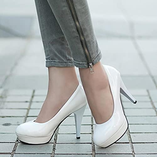 YHCS Mujeres Bombas Moda clásico Patente de Cuero Tacones Altos Zapatos Nude...