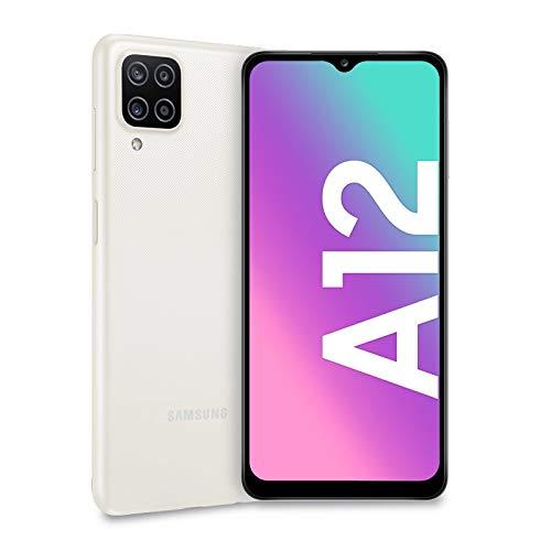 Samsung Galaxy A12, Smartphone, Display 6.5' HD+, 4 Fotocamere Posteriori, 64 GB Espandibili, RAM 4 GB, Processore Octa Core, Batteria 5000 mAh, 4G, Android 11 [Versione Italiana], Bianco