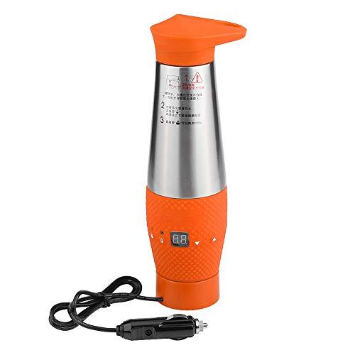 Qiilu 12V 80W Coche Vacio Aislado Taza de calefaccion de Viaje electrica Hervidor de Agua Taza Hervidor de Agua(Naranja)