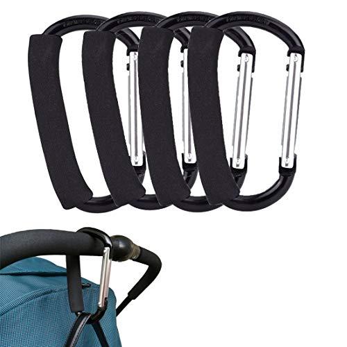 JiAMEIYI boodschappentas haakclip, aluminium karabijnhaak kinderwagen haak D-ring karabijnhaak kleerhanger tassen houder outdoor uitrusting met schuimrubberen handvat
