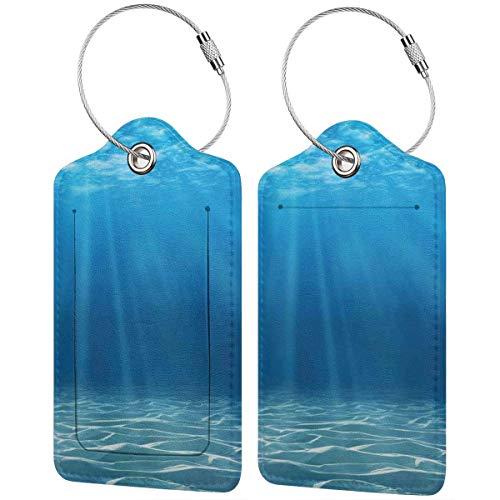 WINCAN Etiquetas para Equipaje,Impresión subacuática del Desierto del océano,2 Piezas Etiquetas de Equipaje de Viaje Etiquetas de Identificación de la Maleta para Maletas,Mochila