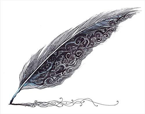 Y·JIANG Pintura de plumas por números, pluma envejecida arte gris negro DIY lienzo acrílico pintura al óleo por números para adultos niños decoración de la pared del hogar, 40,6 x 40,6 cm