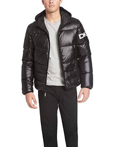 DKNY Men's Water Resistant Ultra Loft Hooded Logo Puffer Jacket