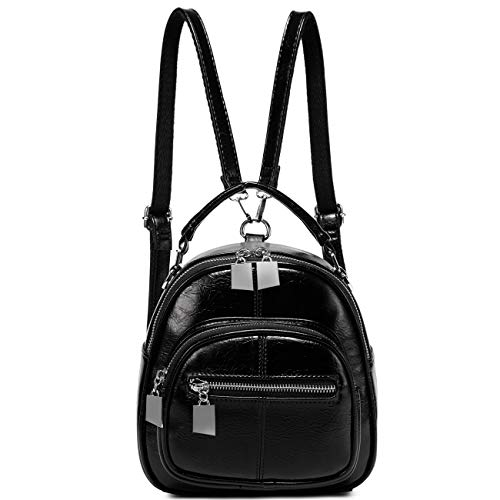 Mini Backpack,VASCHY 3 Ways to Carry Ladies Backpack Fashion PU Leather Small Backpack Purse for Women and Girls with Detachable Straps, Black