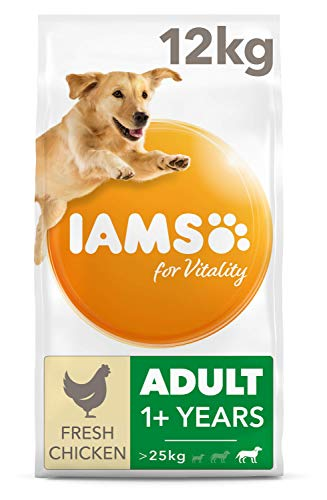 IAMS for Vitality Large Breed Adult Dry Dog Food with Fresh Chicken, 12 kg
