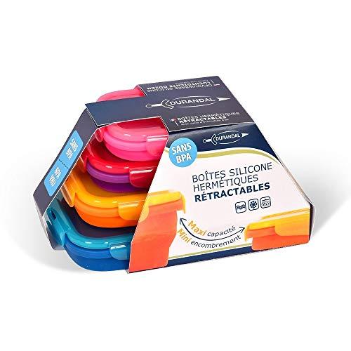 Lot de 4 boites flashys en silicone hermétiques, rétractables, pliables, sans BPA, passent au micro-ondes, lave-vaisselle. - Rose