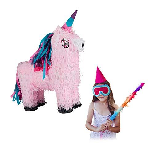 Relaxdays Piñata Unicornio sin Relleno, Papel, Rosa, 54 x 40 x 13 cm, Color, Pinata Einhorn Magic-Design einzeln (10026370)
