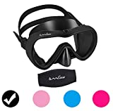 OMGear Diving Mask Snorkeling Gear Kids Adult Snorkel Mask Dive Goggles Silicone Swim Glasses with Nose Cover for Scuba Free Diving Spearfishing Neoprene Strap Cover Impact Resistance (Black)