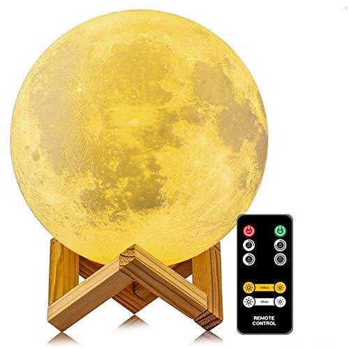 Moon Lamp, LOGROTATE 3D Printing 2 Colors Led Moon Light with Stand & Time Setting, Moon Light Lamps with Remote & Touch Control and USB Recharge for Kids Lover Friend Birthday Gifts (6.0 Inch)