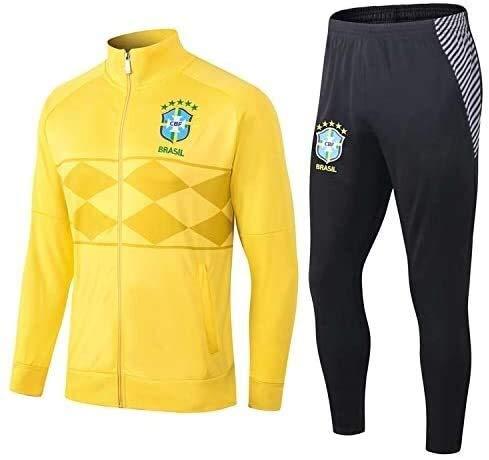 PARTAS Offizielle Fußball-Geschenk-Jacke volle Hülsen Brasilien Trainingsanzug Top + Pants Tracksuits Football Wear Verein Uniform Brasilien Wettbewerb Anzug (Size : XX-Large)