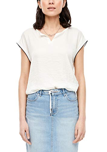 s.Oliver RED LABEL Damen Materialmix-Shirt mit Satin-Front off-white 38