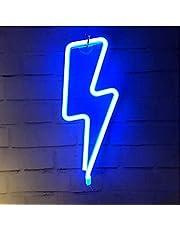 LED Lightning Bolt Neon Sign Decor Light, Blue