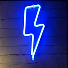 Lightning Bolt Neon Signs, LED Lightning Decor Light Neon Sign,Wall Decor for Home,Birthday Party,Kids Room, Living Room,Wedding Party Decoration,,  Blue, W 35.8 x H 15.4 x L 2.6 cm