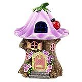 Angoily Casa de Hadas de Setas con Energía Solar Decoración LED Jardín Luces (Púrpura)