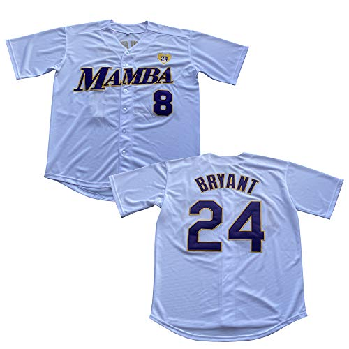 Men's 8 Legend 24 Bryant Button Down Jersey Hipster Hip Hop Baseball Jersey Stitched (White, L)