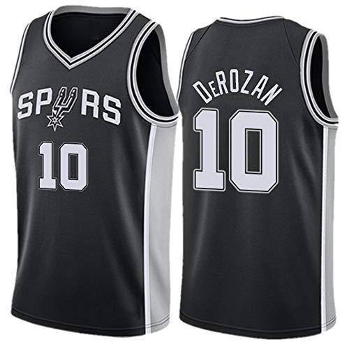 HYQ Camiseta de Baloncesto de la NBA de los Hombres de 10# San Antonio Spurs de Baloncesto Jerse Deporte Neutro Rejilla Superior Camiseta Bordada,Negro,XL/52