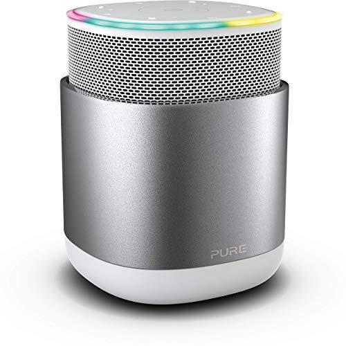 Pure DiscovR Smart Home Wireless Lautsprecher mit Alexa-Sprachsteuerung (360 Grad Sound, 15 Stunden Akku, Schnellladefunktion, Internet-Radio und speziellem Privatsphärenschutz), Silber/Weiß
