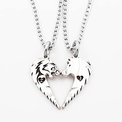 Tribal Tiger and Wolf Couples Necklaces, Custom Initials Engraved in Hearts, Hand Cut Coin, Relationship Jewelry, By NameCoins