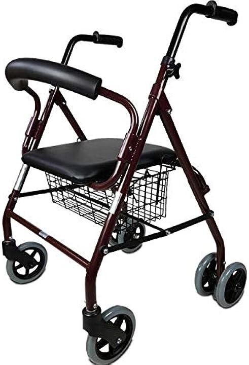 Deambulatore con freni a pressione, alluminio, leggero, con seduta, cestino e 4 ruote - mobiclinic B073P55M4M