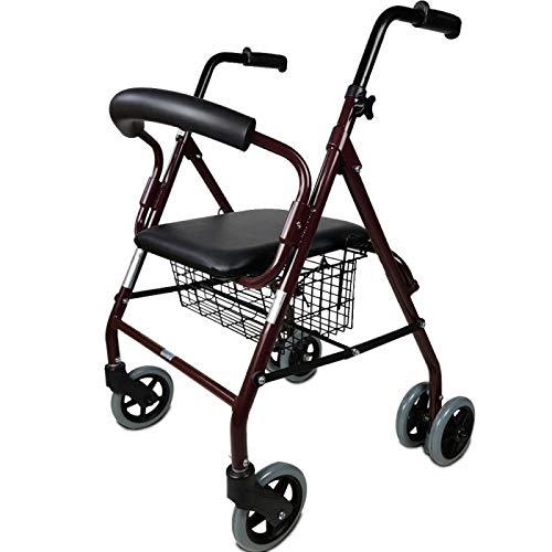 Mobiclinic, Modelo Prado, Andador para minusválidos, ancianos, Rollator, de aluminio, ligero, plegable, frenos por presión, con asiento, cesta y 4 ruedas, Color Burdeos