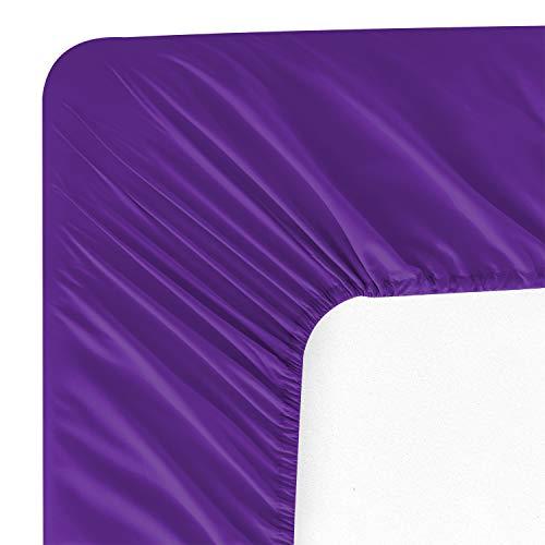Wavva Bedding Modern Solid Color Fitted Sheet - 1800 Deep Pocket Brushed Velvety Microfiber (Twin, Prism Violet)
