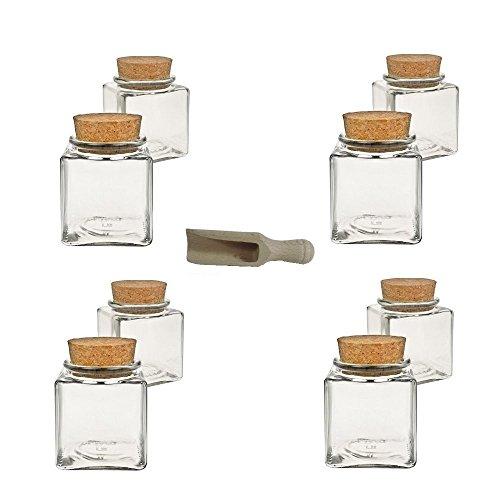 Viva Haushaltswaren - 8 x kleines Gewürzglas eckig 100 ml, Glasdose mit Korkverschluss als Gewürzdose & Vorratsdose für Gewürze, Salz etc. verwendbar (inkl. kleiner Holzschaufel 7,5 cm)