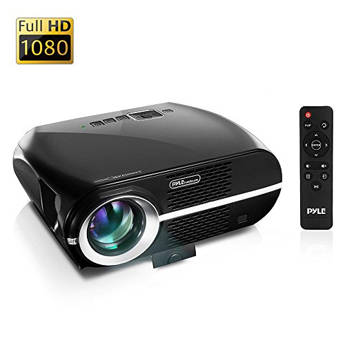 """Updated Pyle Video Projector 5.8"""" LCD Panel LED Lamp Cinema Home Theater w/ Built-in Stereo Speakers 2 HDMI Ports and Keystone Adjustable Picture Projection for TV PC Computer and Laptop PRJLE67"""