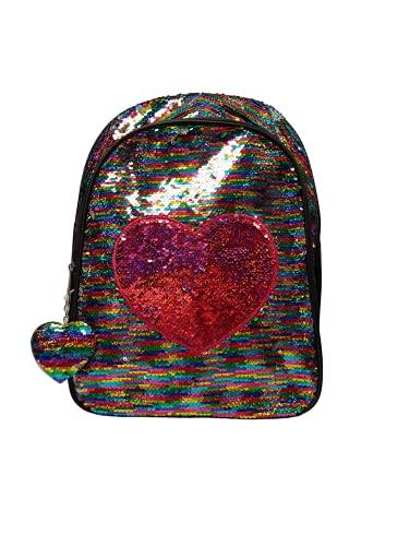Generico Zaino Scuola Elementare, Zaino Scuola Bambina, Zaino Bambina Scuola Elementare, Zaini Scuola Elementare Bambini, Zaini con Paillettes Gira e brilla (Nero/Multicolor)
