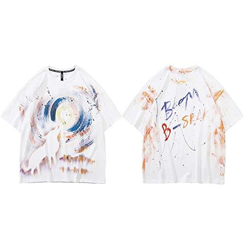GVDFSEYL Heren T-shirt Hip Hop Streetwear Malen Moon Wolf T-shirt Harajuku zomer korte mouwen T-shirt katoen tops T-shirt hipster