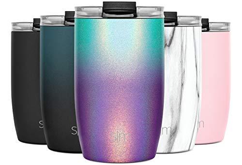 Simple Modern 355 ml (12oz) Voyager Termo Taza con Paja - Vaso Termico de Viaje Café Termica para Llevar Acero Inoxidable Botella de Agua Reluciente: Aurora