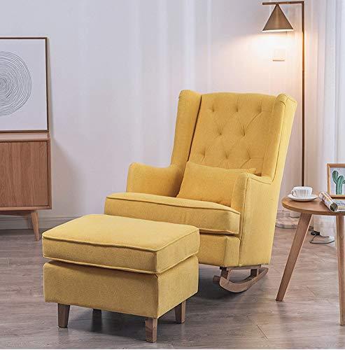 LC-SHBAGS Oorfauteuil, leunstoel met voetensteun, eenvoudige moderne luier geel