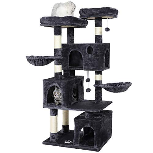 MSmask - Tiragraffi per gatti di grandi dimensioni, con 3 cucce per gatti, robusto albero per gatti con tiragraffi in sisal, 2 piattaforme (grigio scuro)