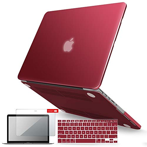 IBENZER MacBook Pro 13 Inch Case 2015 2014 2013 end 2012 A1502 A1425, Hard Shell Case with Keyboard Cover & Screen Protector for Old Version Apple Mac Pro Retina 13, Wine Red, R13WR+2