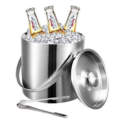 XBR New Stainless Steel Ice Bucket with Lid and Tongs, Double Walled Metal Ice Buckets with Strainer - Easy Carry Handle - Bar Ice Bucket for Ice Cubes, Beer & Champagne Bottles,2L
