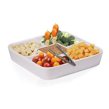 Durable White Ceramic Serving Platter with Serving Tong, Divided Serving Tray for Appetizers, Salad Bar with Bamboo Toothpick Holder