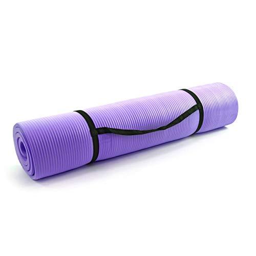 Nexos Yoga-Matte extra-dick extra-breit XXL Gymnastikmatte Fitnessmatte Pilates-Matte schadstofffrei mit Tragegurt 190 x 100 x 1,5 cm Farbe: lila