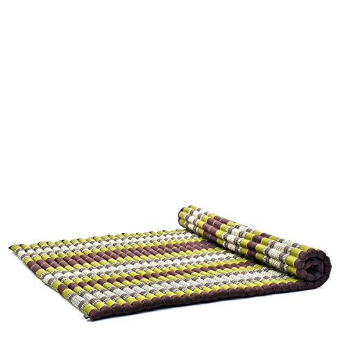 Leewadee Rollbare XXL Thai Matte, 200x145x5 cm, Extrabreite Gästematratze Yogamatte Massagematte Ökologisches Naturprodukt, Kapok, braun grün