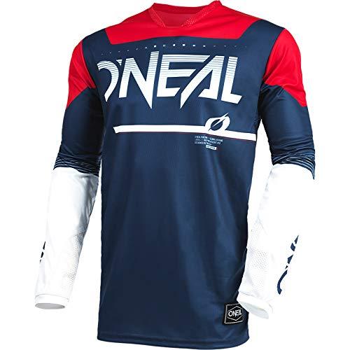 O'NEAL | Motocross-Shirt Langarm | MX MTB Mountainbike | Leichte Materialien, Lasergeschnittene Belüftungslöcher, Ergonomischer Schnitt | Hardwear Jersey Surge | Erwachsene | Blau Rot | Größe XL